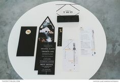 This modern stationery, showcasing the stark contrast of black and white, was spruced up with touches of gold. Wedding Stationery Inspiration, Touch Of Gold, Lincoln, Claire, Contrast, Bloom, Branding, Wedding Ideas, Weddings