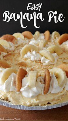 Banana Pie Recipe, Easy Banana Cream Pie, Banana Dessert Recipes, Sweet Desserts, Easy Desserts, Delicious Desserts, Banana Pudding Desserts, Fluff Desserts, Desserts With Biscuits