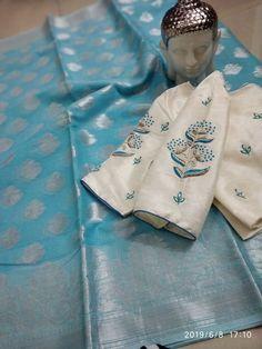 Kota sarees with designer stitched blouse at siri designers. Buy these sarees with blouse at best price. Kota sarees are very light weight sarees Wedding Saree Blouse Designs, Saree Blouse Neck Designs, Simple Blouse Designs, Stylish Blouse Design, Saree Blouse Patterns, Saris, Seda Sari, Kota Sarees, Kora Silk Sarees