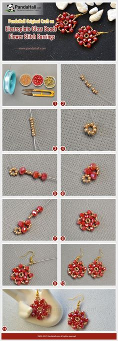 Pandahall DIY Idea on Electroplate Glass Beads Flower Stitch Earrings Stitch gold seed beads and red electroplate glass beads into flower shape and add earring