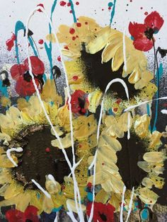 ARTFINDER: Sunflowers ( framed ) by Jane Morgan - This is an original acrylic and inks on paper. Sunflowers and poppies, two of my all time favourite flowers, makes me think of sunny holidays in France. This...