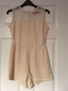 0c954d3390 Boohoo Cream white Lace Playsuit Size 6 Vgc  fashion  clothing  shoes