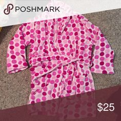 Pink poka dot robe This is not VS pink rather ulta brand. Similar to VS pink robes tho! Looking to clear out my closet! Price not firm. No size on tag but I'm a small/medium and it fits perfect. I would say one size fits most. Comes with matching belt to tighten around waist. PINK Victoria's Secret Intimates & Sleepwear Robes