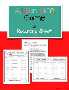 Addition Dice Game and Recording Sheet (adding dice, comparing sums, counting points by 2). ******FREE********