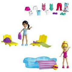 Polly Pocket friends with accessories - poolin' arround