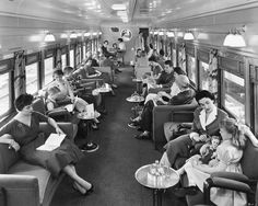 Lounge Car aboard a Union Pacific Streamliner in the 1950s - wouldn't it be great if travel still looked like this.