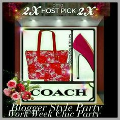 2X HOST PICK COACH FLORAL TOTE AND MINI CLUTCH New!..Unsed.. Sold Out. The Weekender Getaway Tote From Coach. Tote Has Beautiful Pink Floral Roses Design Tote Comes With A Great BONUS Bag, Which Can Be Used As A Clutch Or Make-up Bag. 2 Snap Closure's Inside. Tote Is Lined For Easy Cleaning.  Both Have Zip Top. Tote Has Coach Hanging Tag And Round Logo. Smaller Bag Has Signature Coach Leather Embossed Logo. Coach Bags Totes