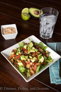 Creamy chipotle dressing tossed with chopped lettuce and other Mexican ingredients.