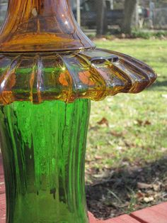Glass Yard Art Totem Sculpture Green Yellow-Amber by TheGlassDiva