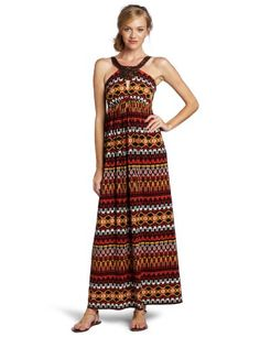 maxandcleo Womens Tribal Halter Dress Maxi Dress Bright Flame 10 -- Find out more about the great product at the image link.