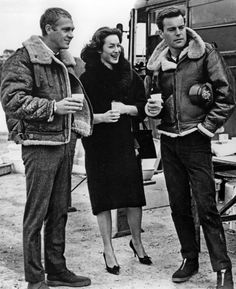 """Steve McQueen and Robert Wagner on the set of """"The War Lover,"""" 1962"""