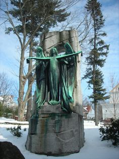"""C. Moretti, """"Angel of Life,"""" behind the Nevins Library Methuen MA"""