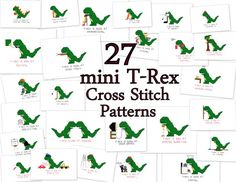 Cross Stitch Patterns -- 27 T-Rex mini patterns, with T-Rex being good or bad at things, each to fit in hoop or 4x6 frame, or for sampler