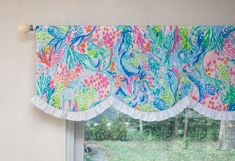 Nursery Kids Room Window Valance - Flamingo Pink Hot Pink Lime Green Turquoise Aqua - Made with Mermaid Cove Lilly Pulitzer Fabric Mermaid Baby Nurseries, Mermaid Nursery Decor, Mermaid Bedroom, Girl Nursery, Lilly Pulitzer Fabric, Lily Pulitzer, Tropical Nursery, Mermaid Cove, Vintage Room