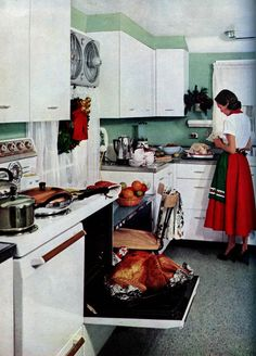 """Holiday Kitchen """"Good Housekeeping""""December I love the seated work space right next to the stove. Although, I'm sure it would be an uncomfortable spot when the oven is in use! Vintage Thanksgiving, Vintage Holiday, Old Kitchen, Vintage Kitchen, Kitchen Ideas, Style Vintage, Retro Vintage, Vintage Homes, Vintage Stuff"""