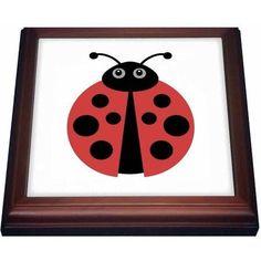 3dRose Cute cartoon ladybug, Trivet with Ceramic Tile, 8 by 8-inch