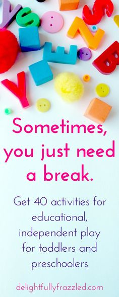 Raising a toddler is wonderous, exciting, dizzying, and sometimes terrifying. For all those moments when you just need a break, learn how to make 40 activities for independent play for your little one! | Busy Bags | Toddler activities | preschool activities | raising toddlers | work-at-home moms | independent play | sensory play | quiet play | resources for young moms | toddler play | educational play | STEM activities | mom blogger | mompreneur | stay-at-home mom resources