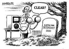 Margulies made this comic at the time of the elections about how Obama said he would resurrect the economy. We all see how that has worked out.
