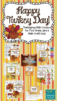 Happy Turkey Day- 6 Math Centers for First Grade, Plus a cute Math Turkey craft!   Includes place value, addition, fact families, and more!  $