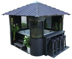 Canadian Spa Co. Fraser Gazebo is the perfect companion for your spa. Our Gazebo will turn your backyard into a entertainment centre. Available in coffee Hot Tub Gazebo, Hot Tub Deck, Patio Table, Backyard Patio, Garden Table, Backyard Ideas, Outdoor Spa, Outdoor Living, Jacuzzi Outdoor