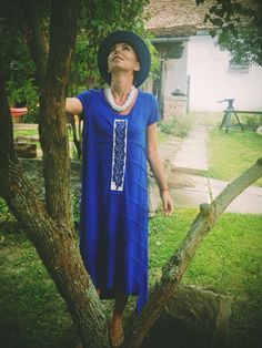 Electric blue, jersey dress, handmade embroidery, sustainable design, contemporary design, traditional design. Old Hands, Sustainable Clothing, Contemporary Design, Boohoo, Short Sleeve Dresses, T Shirt, Clothes, Fashion, Outfit