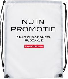 Vanaf €0,85 http://www.pascogifts.com/nl/promotiemateriaal/tassen-and-bagage/sporttassen/premium-rugzak-lux