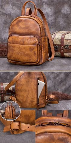 Backpack purse Ladies Genuine Leather Small Backpack Purse Cool Backpacks for Women - Brown Small Womens Genuine Leather Backpack Purse Cool Backpacks for Women Vintage Leather Backpack, Leather Backpack Purse, Leather Wallet, Crossbody Bag, Denim Backpack, Leather Bag, Handbags On Sale, Luxury Handbags, Small Backpack