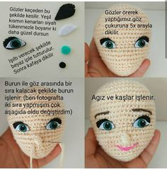Nose Shaping For Amigurumi Cro Though Not An English Tutorial, This Written Pattern Will Be Helpful When I Want To Create A Shapely Face.The Band Amigurumi Crochet Boys Buzztmz - Diy Crafts - DIY & Crafts Crochet Flower Tutorial, Crochet Doll Pattern, Crochet Dolls, Crochet Patterns, Crochet Eyes, Crochet Birds, Doll Head, Doll Face, Crochet For Boys