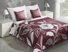 Bordový oboustranný přehoz na postel s krémovými květy