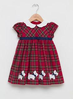 Shop Trotters Pinafore in Dress Stewart Tartan with Scottie Dog appliqué. A festive Baby Girls' pinafore. Discover our Baby Girls' Dress range online from Trotters. Baby Girl Dress Patterns, Baby Girl Dresses, Baby Dress, Baby Girls, Little Girls Fancy Dresses, Baby Girl Christmas Dresses, Kids Dress Wear, Tartan Dress, Moda Vintage