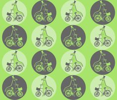 Crocodiles on Vintage Bicycles - Limited palette (3 colours) fabric by madex on Spoonflower