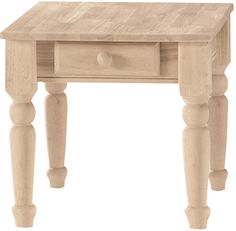 Unfinished Traditional End Table with Drawer - BJ7TE International Concepts