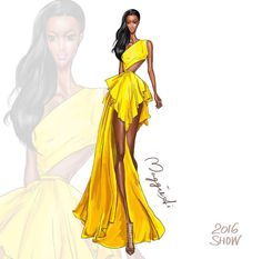 2016 show of Love her sexy black skin match with this Amazing Yellow dress. Dress Design Sketches, Fashion Design Sketchbook, Fashion Design Drawings, Fashion Sketches, Fashion Drawing Dresses, Fashion Illustration Dresses, Fashion Illustrations, Fashion Art, Love Fashion
