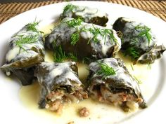 Dolmades (Stuffed Grape Leaves) serve with cucumber yogurt sauce