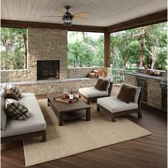 Hunter Barnes Bay 52 in. LED Indoor/Outdoor Natural Iron Ceiling Fan with Light - The Home Depot - David Roary - Hunter Barnes Bay 52 in. LED Indoor/Outdoor Natural Iron Ceiling Fan with Light - The Home Depot - Outdoor Living Rooms, Outside Living, Outside Patio, Backyard Patio Designs, Backyard Landscaping, Backyard Porch Ideas, Back Yard Patio Ideas, Screened Porch Designs, Sloped Backyard