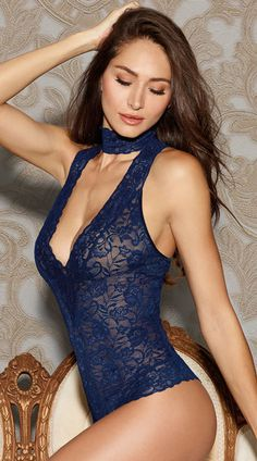 Midnight Lace Collared Teddy, Midnight Stretch Lace Collared Teddy Bodysuit