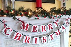 Christmas decorations / MERRY CHRISTMAS banner / Holiday Mantle Garland / Holiday Photo Banner / Vintage Inspired Holiday Banner /Christmas Banner. Here it is!! This banner would look great on your mantle of course but also on your wall or even bookshelf or staircase. I'm going to hang mine on the inside of my front bay window for all to see! This would also make a lovely Christmas gift for that hard to buy for person. This banner would make your Christmas photos really cute too-imagine…