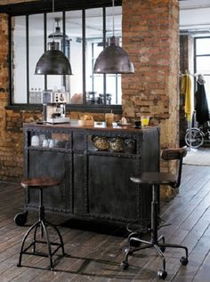 Vintage Industrial Decor 50 Elegant Industrial Style Home Bar Ideas Industrial Living, Industrial Interiors, Rustic Industrial, Industrial Furniture, Industrial Kitchens, Industrial Stairs, Industrial Windows, Industrial Restaurant, Industrial Apartment
