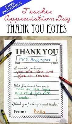 Teacher Appreciation Day Printable Thank You Notes  Download these darling printables for free and you child can fill it out to tell the teacher how much you appreciate them.: