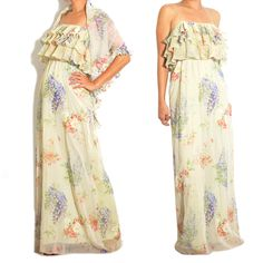 1970s Vintage Floral Ruffle Maxi. A curated selection of designer & unique vintage by A Part of the Rest