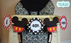 "Mickey Mouse Party Printable Highchair Banner by HeartsandCraftsy ""I AM ONE"""