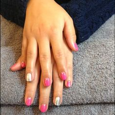 Hot pop pink with nail art