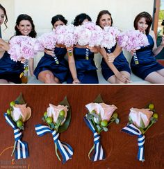 Navy blue and pink bouquets and boutinieres