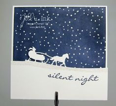 Silent Night MnT Card - SU - Christmas - Sleigh Ride Edgelits, Jingle All the Way stamp set (come as a Bundle! Simple Christmas Cards, Christmas Card Crafts, Stampin Up Christmas, Xmas Cards, Holiday Cards, Magical Christmas, Christmas Holidays, Jingle All The Way, Stampin Up Cards
