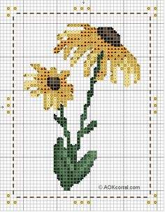 Cross-stitch Sunflower Pattern... no color chart available, just use pattern chart as your color guide.. or choose your own colors...