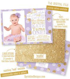 First Birthday Girl Invitation Photo Card - Lavender Purple Gold Glitter Confetti - BIG ONE 1st Bday - Custom Printable Party Invite by SprinkledDesign