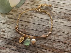 Teardrop Bar Bracelet Stamped Initial Jewelry Hand by foxandfigs