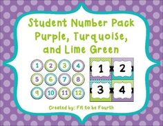These numbers can be used for a variety of sign up and sign in procedures in your classroom.  I print them on cardstock and laminate them for durability.  They also work great printed on sticker paper and used for student labels.  The numbers are 1-36, and they come in two inch circles as well as four inch squares.To learn more about the activities I use in my classroom, you can check out my blog, Fit to be FourthThe numbers coordinate well with the following.Editable Pennants in Purple…