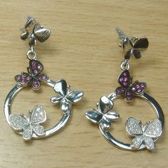 Micro Setting Pink and White CZ 925 Sterling Silver Circle Butterfly Stud Earring