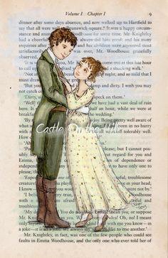"Emma and Knightley original portrait painting book page - Jane Austen's ""Emma""."